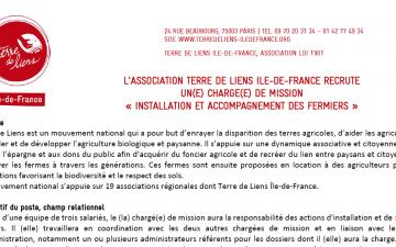Terre de Liens Ile-de-France recrute