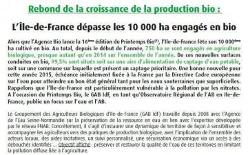 L'Île-de-France dépasse les 10 000 ha engagés en bio