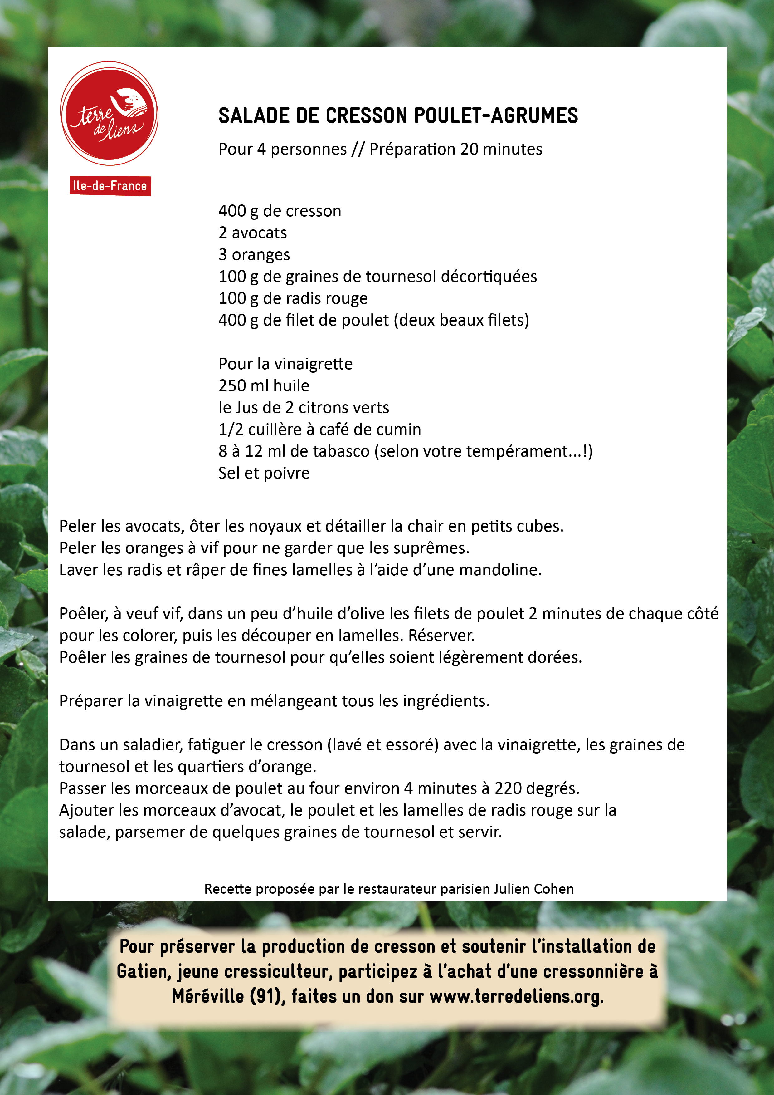 Recette salade cresson