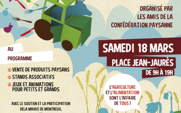 Marchés paysan à Montreuil et Pantin les 18 et 19 mars prochain